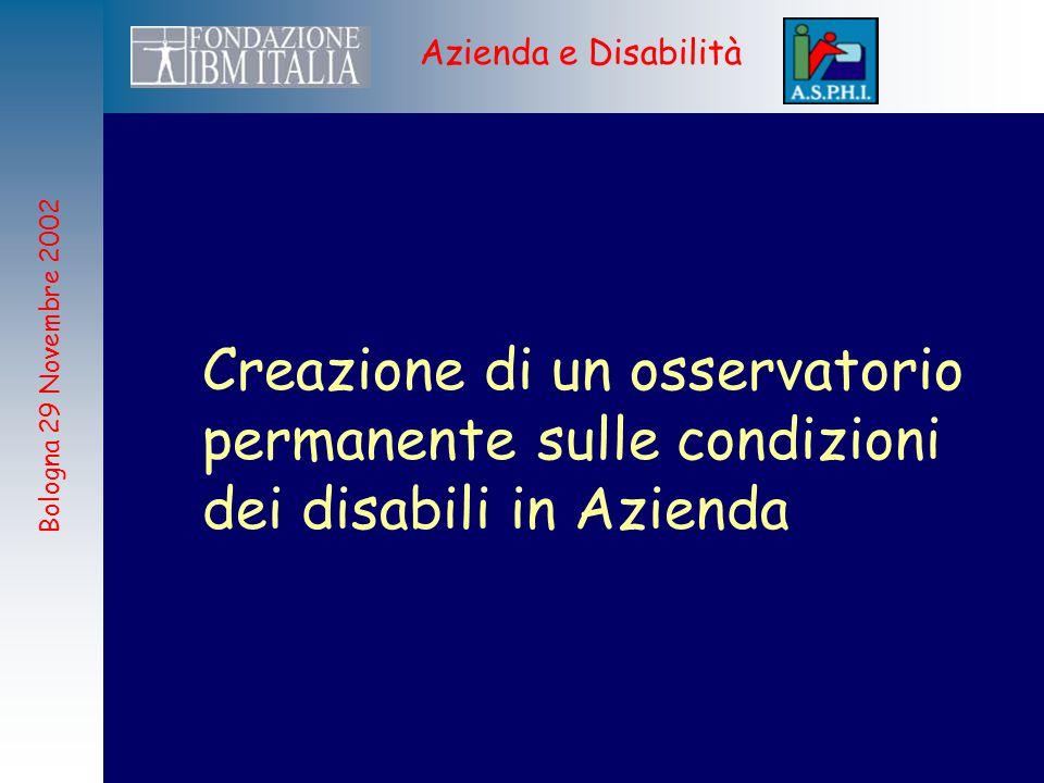 Bologna 29 Novembre 2002 Azienda e Disabilità Creazione di un osservatorio permanente sulle condizioni dei disabili in Azienda
