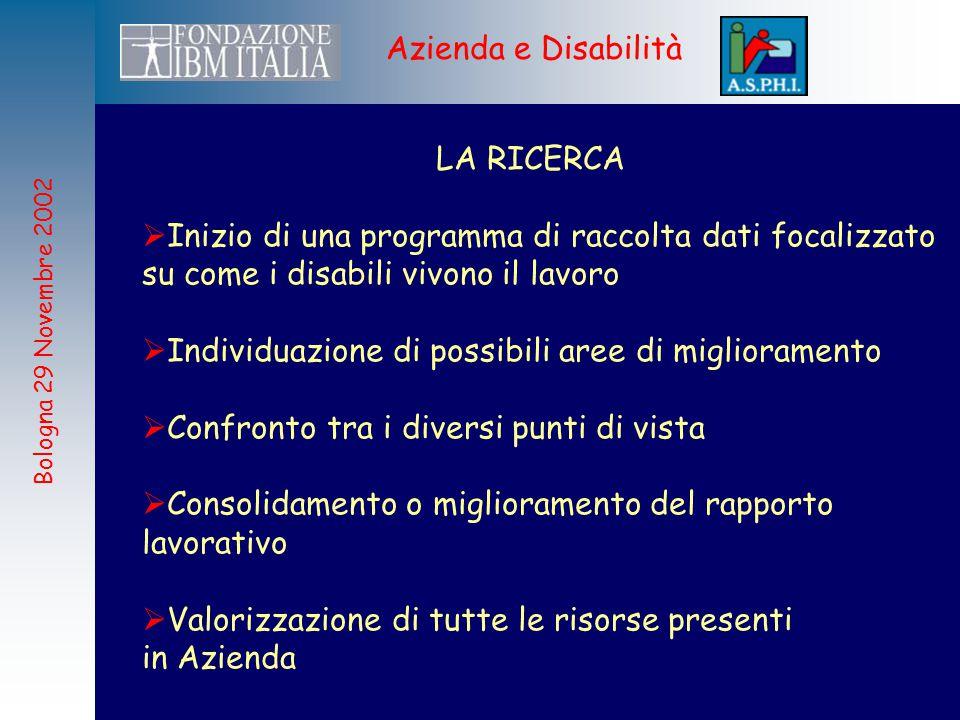 Bologna 29 Novembre 2002 Azienda e Disabilità I PROSSIMI PASSI  Allargamento del numero di Aziende partecipanti alla ricerca  Affinamento delle tecniche di rilevazione  Rilevazione periodica dei dati