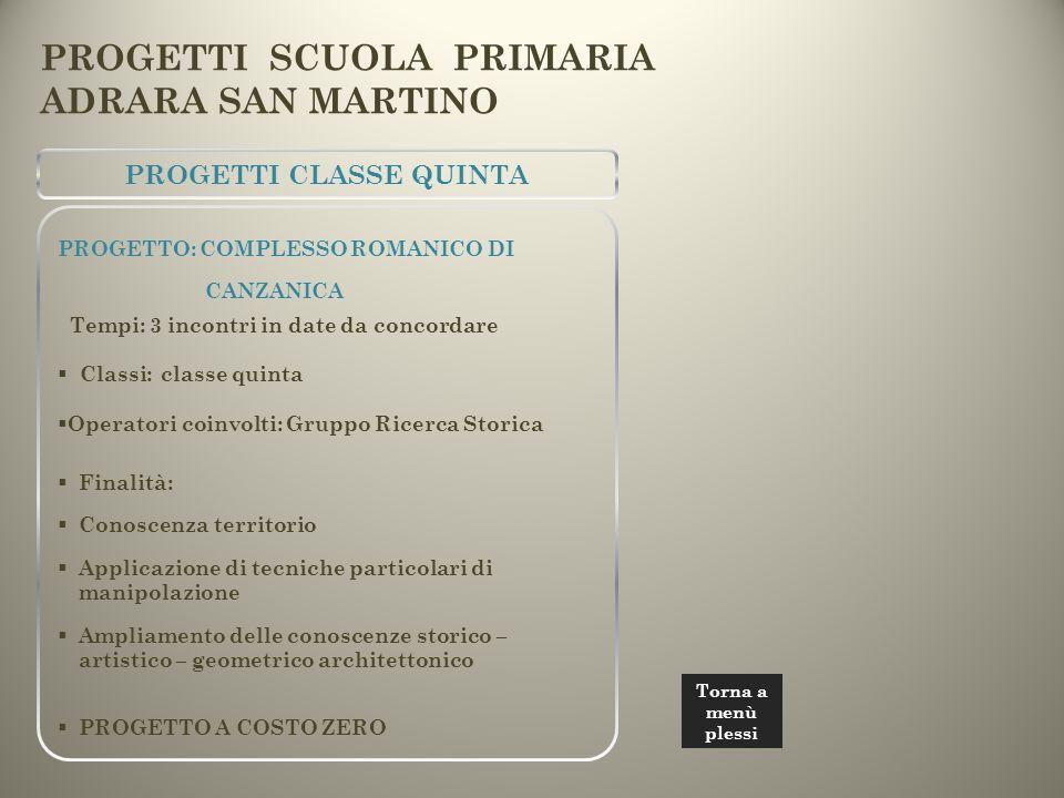 PROGETTI SCUOLA PRIMARIA ADRARA SAN MARTINO PROGETTI CLASSE QUINTA PROGETTO: COMPLESSO ROMANICO DI CANZANICA Tempi: 3 incontri in date da concordare 