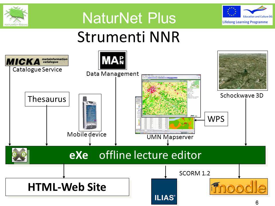 NaturNet Plus Strumenti NNR 7 Creatione di lezioni con eXe XHTML Editor - Offline - progettato per non esperti, interfaccia user friendly - integrazione di testi, immagini, flash movies, video test a scelta multipla, etc - integrazione di strumenti di NNR (come web site) Screen capturing