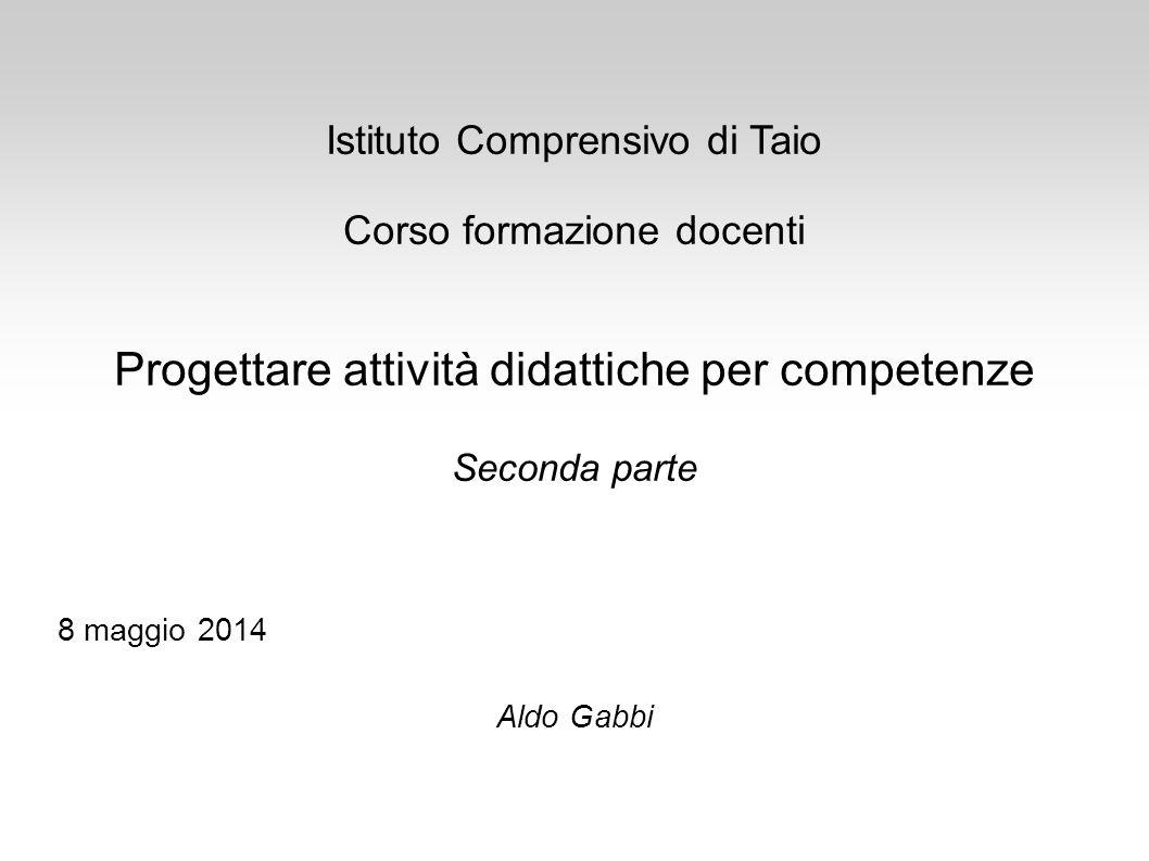 Istituto Comprensivo di Taio Corso formazione docenti Progettare attività didattiche per competenze Seconda parte 8 maggio 2014 Aldo Gabbi