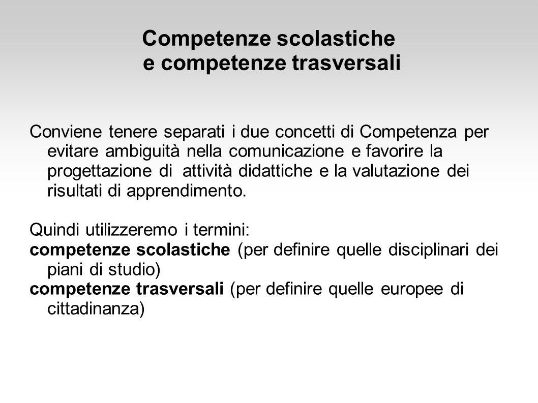 Conviene tenere separati i due concetti di Competenza per evitare ambiguità nella comunicazione e favorire la progettazione di attività didattiche e l