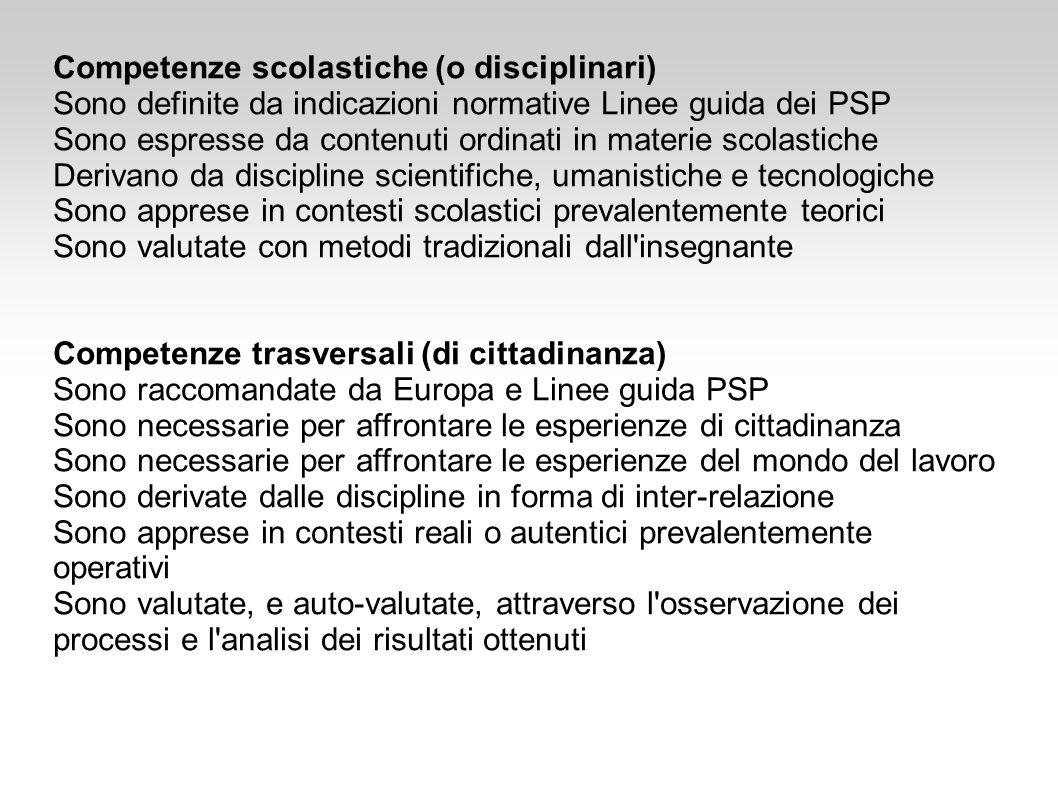 Competenze scolastiche (o disciplinari) Sono definite da indicazioni normative Linee guida dei PSP Sono espresse da contenuti ordinati in materie scol
