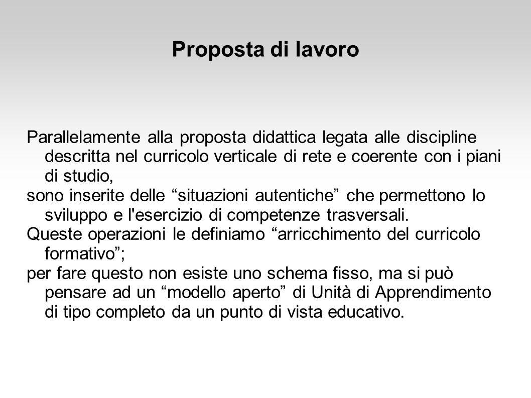 Proposta di lavoro Parallelamente alla proposta didattica legata alle discipline descritta nel curricolo verticale di rete e coerente con i piani di s