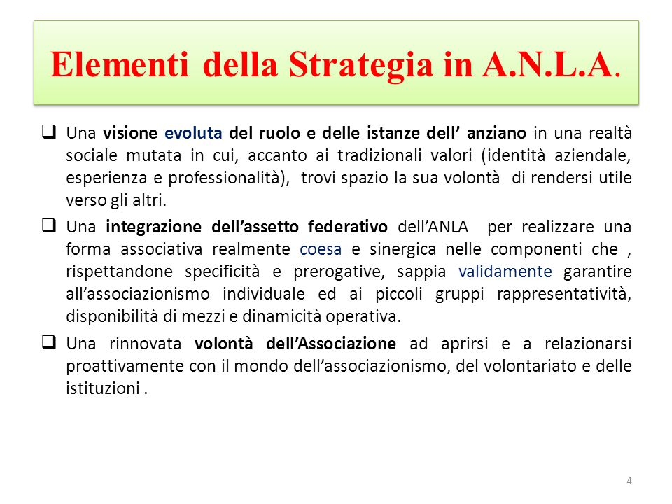 Elementi della Strategia in A.N.L.A.