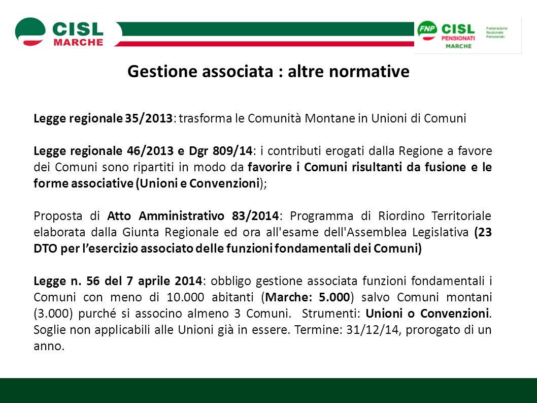 Gestione associata : altre normative Legge regionale 35/2013: trasforma le Comunità Montane in Unioni di Comuni Legge regionale 46/2013 e Dgr 809/14: