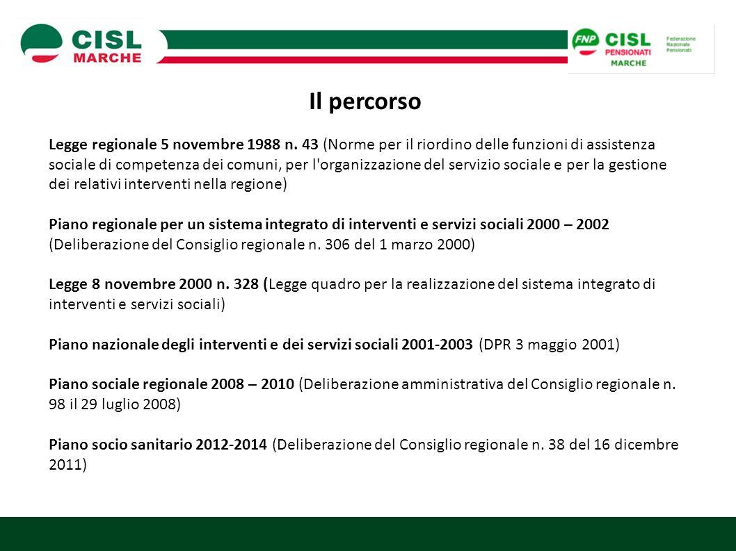 Il percorso Legge regionale 5 novembre 1988 n. 43 (Norme per il riordino delle funzioni di assistenza sociale di competenza dei comuni, per l'organizz