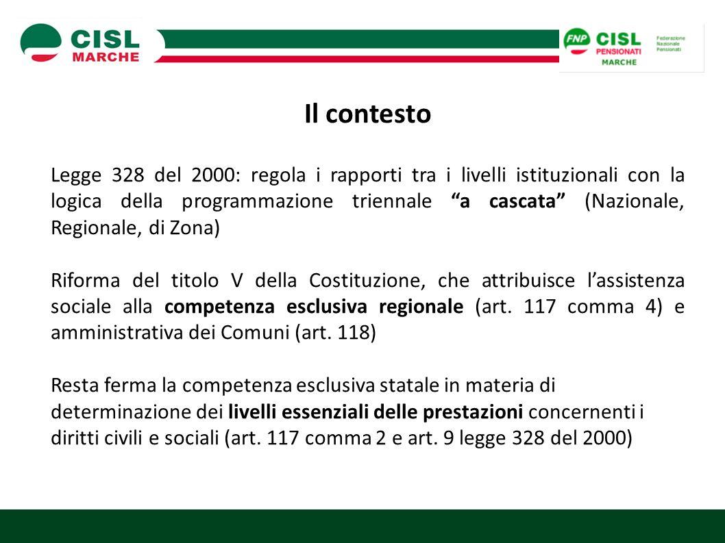 Il contesto Legge 328 del 2000: regola i rapporti tra i livelli istituzionali con la logica della programmazione triennale a cascata (Nazionale, Regionale, di Zona) Riforma del titolo V della Costituzione, che attribuisce l'assistenza sociale alla competenza esclusiva regionale (art.