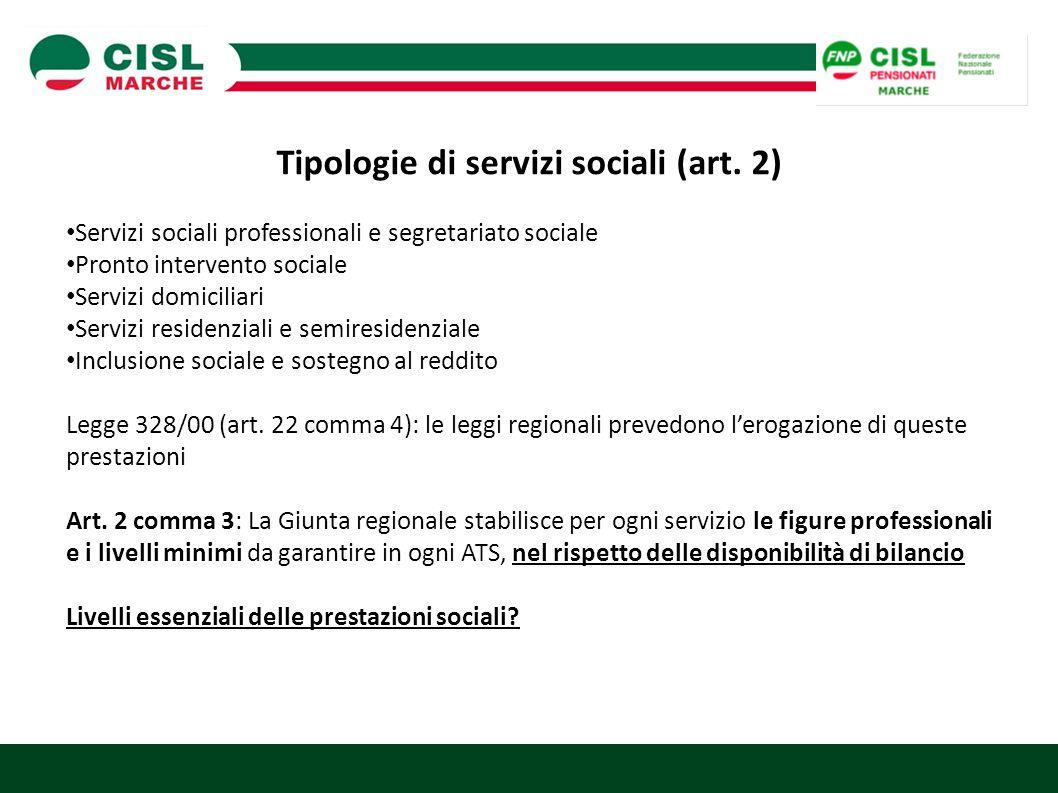 Tipologie di servizi sociali (art. 2) Servizi sociali professionali e segretariato sociale Pronto intervento sociale Servizi domiciliari Servizi resid