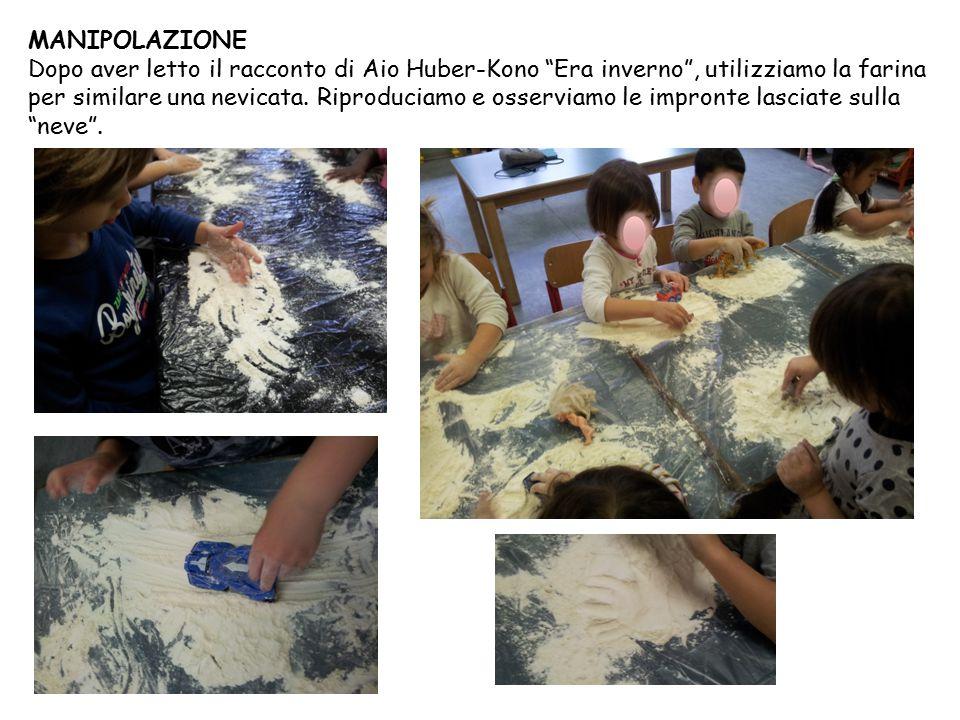 """MANIPOLAZIONE Dopo aver letto il racconto di Aio Huber-Kono """"Era inverno"""", utilizziamo la farina per similare una nevicata. Riproduciamo e osserviamo"""