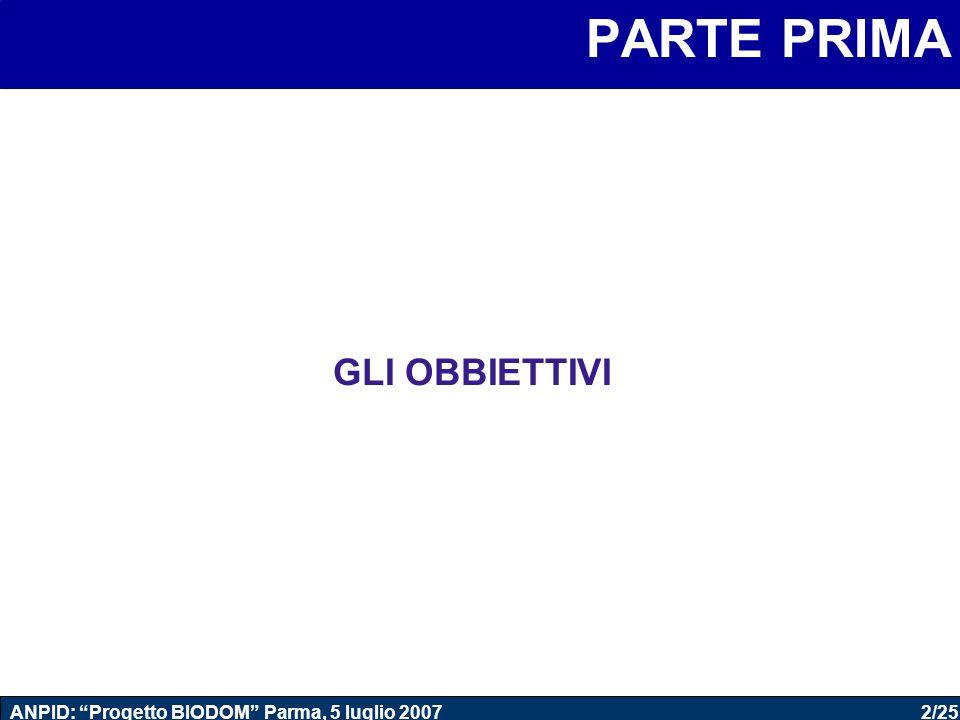 """2/25 ANPID: """"Progetto BIODOM"""" Parma, 5 luglio 2007 PARTE PRIMA GLI OBBIETTIVI"""