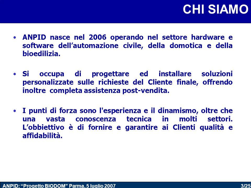 14/25 ANPID: Progetto BIODOM Parma, 5 luglio 2007 CONTROLLO (locale/ remoto) Illuminazione Automazione Energia Sicurezza Intrattenimento Comunicazione Comfort ARCHITETTURA LOGICA