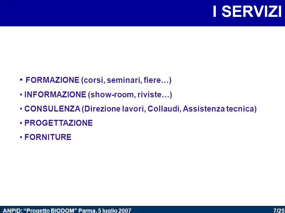 """7/25 ANPID: """"Progetto BIODOM"""" Parma, 5 luglio 2007 I SERVIZI FORMAZIONE (corsi, seminari, fiere…) INFORMAZIONE (show-room, riviste…) CONSULENZA (Direz"""