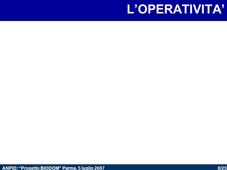 """8/25 ANPID: """"Progetto BIODOM"""" Parma, 5 luglio 2007 L'OPERATIVITA'"""