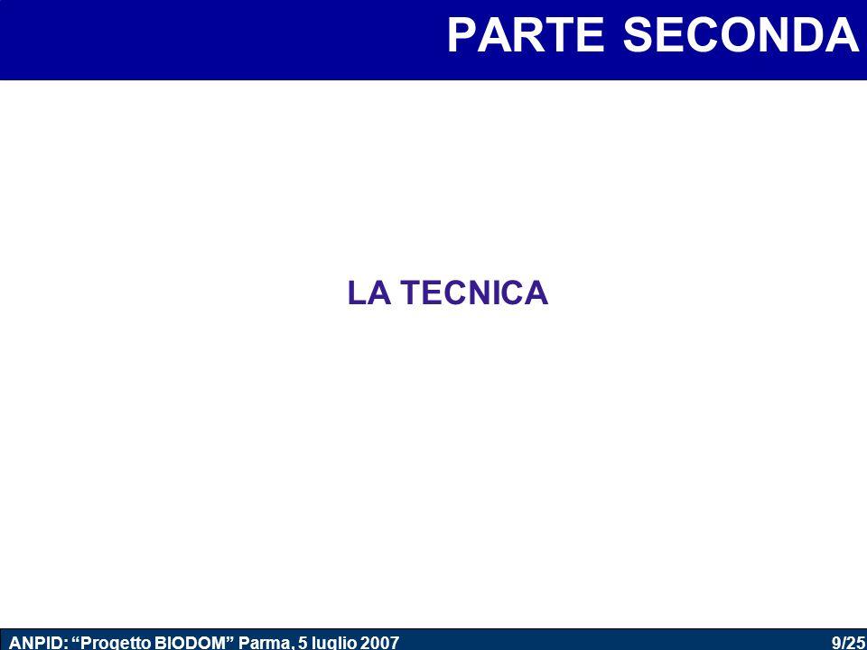 9/25 ANPID: Progetto BIODOM Parma, 5 luglio 2007 PARTE SECONDA LA TECNICA