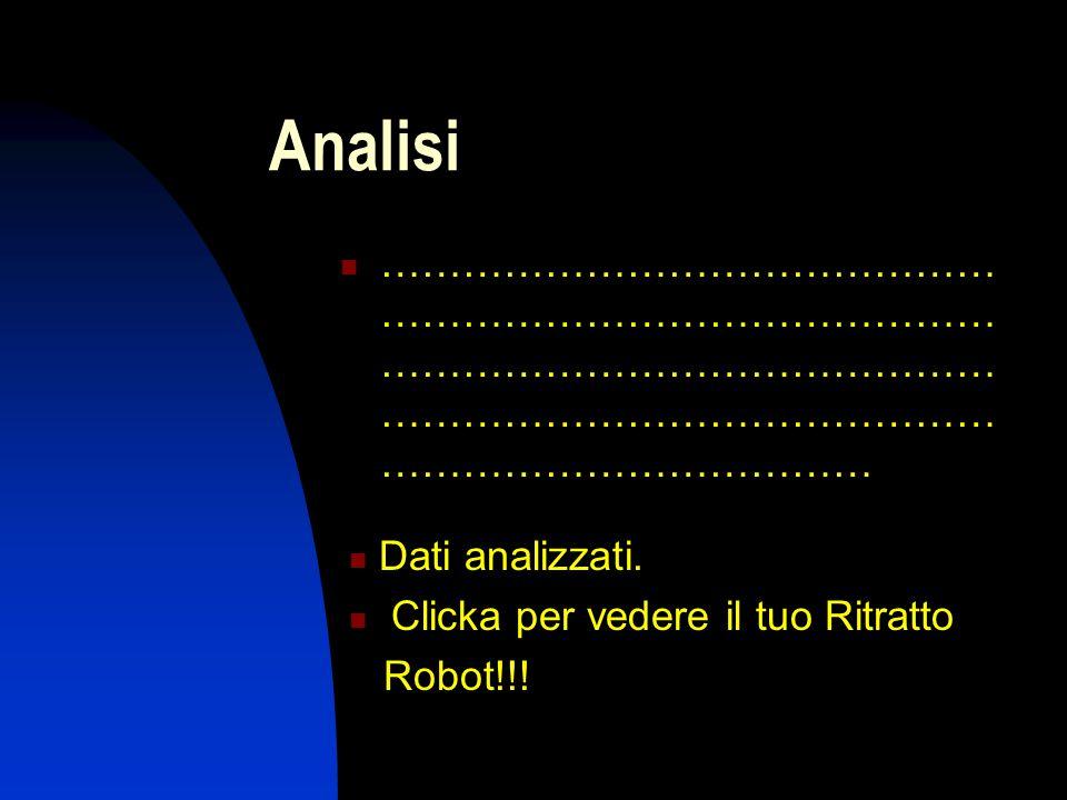 Analisi ……………………………………… ……………………………………… ……………………………………… ……………………………………… ……………………………… Dati analizzati. Clicka per vedere il tuo Ritratto Robot!!!