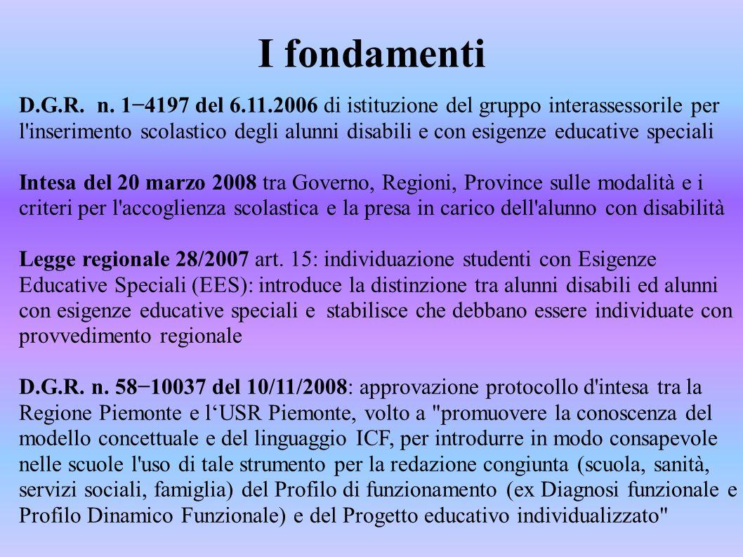 I fondamenti D.G.R. n. 1−4197 del 6.11.2006 di istituzione del gruppo interassessorile per l'inserimento scolastico degli alunni disabili e con esigen