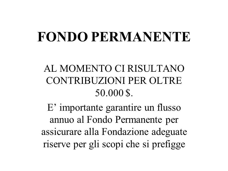 FONDO PERMANENTE AL MOMENTO CI RISULTANO CONTRIBUZIONI PER OLTRE 50.000 $.