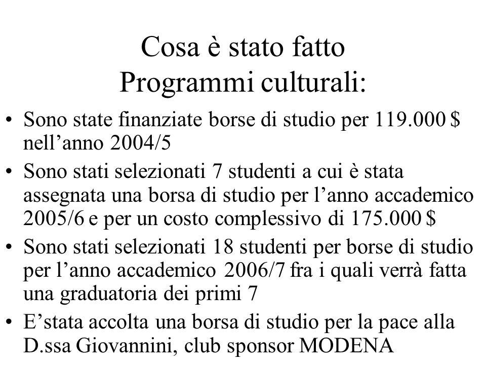 Cosa è stato fatto Programmi culturali: Sono state finanziate borse di studio per 119.000 $ nell'anno 2004/5 Sono stati selezionati 7 studenti a cui è stata assegnata una borsa di studio per l'anno accademico 2005/6 e per un costo complessivo di 175.000 $ Sono stati selezionati 18 studenti per borse di studio per l'anno accademico 2006/7 fra i quali verrà fatta una graduatoria dei primi 7 E'stata accolta una borsa di studio per la pace alla D.ssa Giovannini, club sponsor MODENA