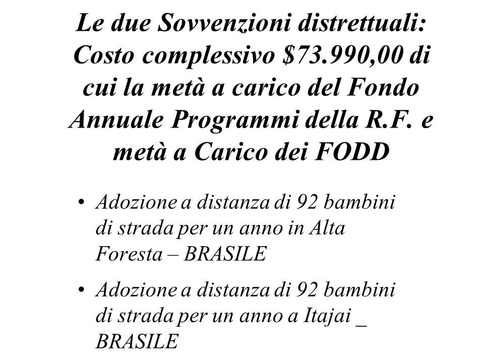 Le due Sovvenzioni distrettuali: Costo complessivo $73.990,00 di cui la metà a carico del Fondo Annuale Programmi della R.F.