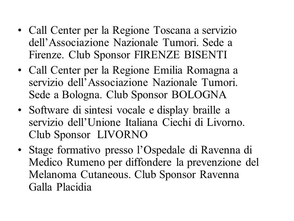 Call Center per la Regione Toscana a servizio dell'Associazione Nazionale Tumori.