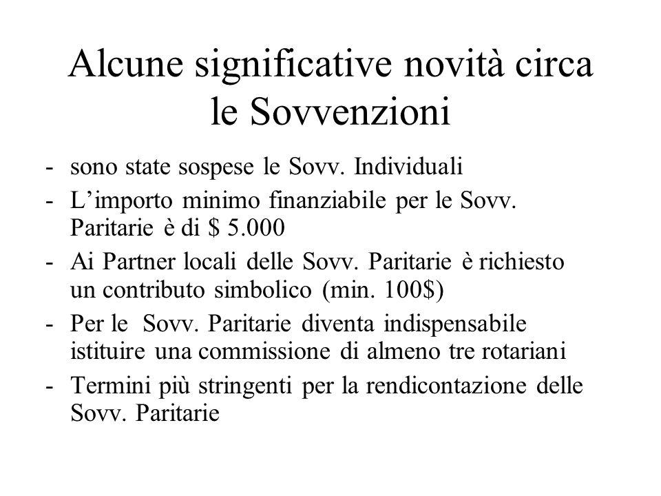 Alcune significative novità circa le Sovvenzioni -sono state sospese le Sovv.