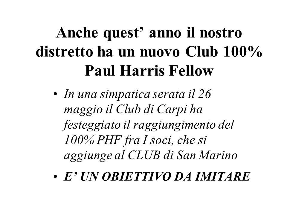 Anche quest' anno il nostro distretto ha un nuovo Club 100% Paul Harris Fellow In una simpatica serata il 26 maggio il Club di Carpi ha festeggiato il raggiungimento del 100% PHF fra I soci, che si aggiunge al CLUB di San Marino E' UN OBIETTIVO DA IMITARE
