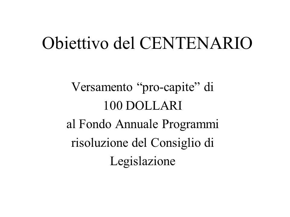 Obiettivo del CENTENARIO Versamento pro-capite di 100 DOLLARI al Fondo Annuale Programmi risoluzione del Consiglio di Legislazione