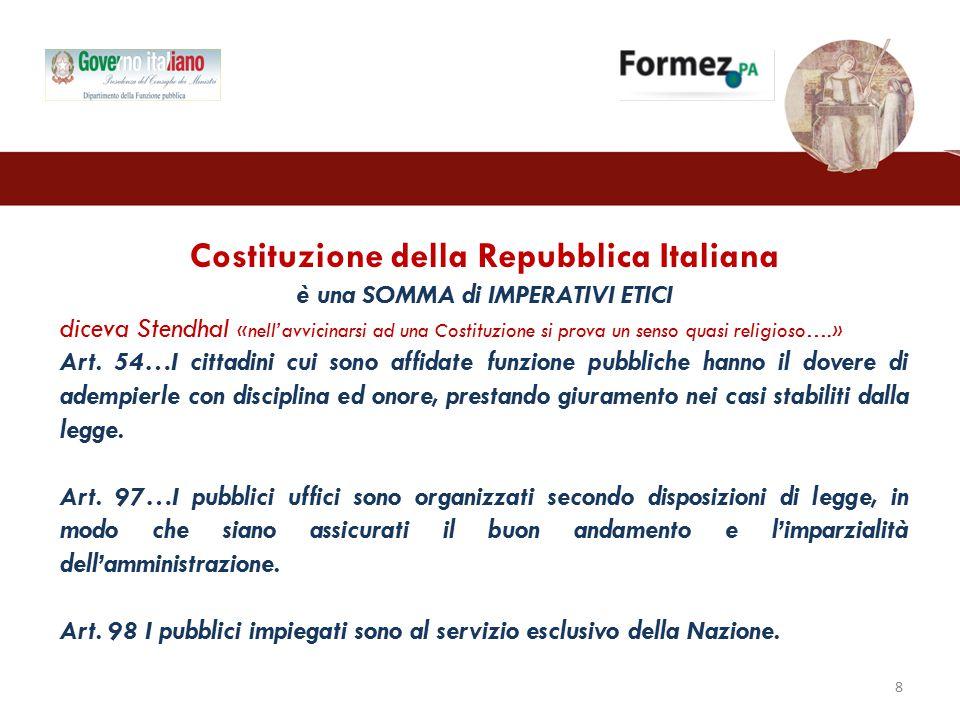 Costituzione della Repubblica Italiana è una SOMMA di IMPERATIVI ETICI diceva Stendhal «nell'avvicinarsi ad una Costituzione si prova un senso quasi religioso….» Art.