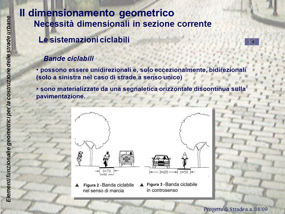 Progetto di Strade a.a. 08/09 Elementi funzionali e geometrici per la costruzione delle strade urbane Il dimensionamento geometrico Necessità dimensio