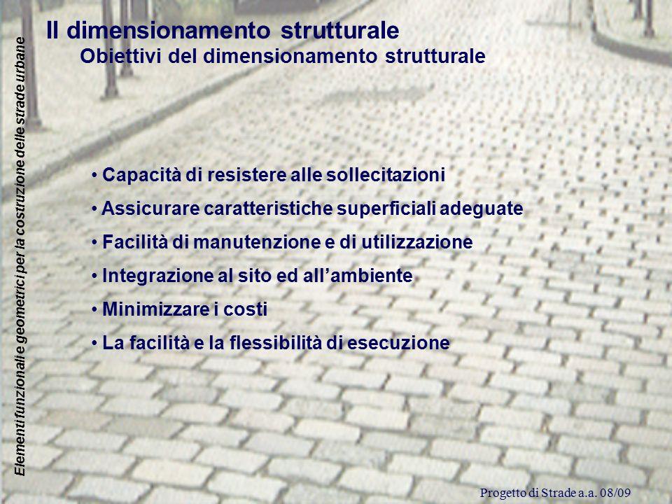 Progetto di Strade a.a. 08/09 Elementi funzionali e geometrici per la costruzione delle strade urbane Il dimensionamento strutturale Obiettivi del dim