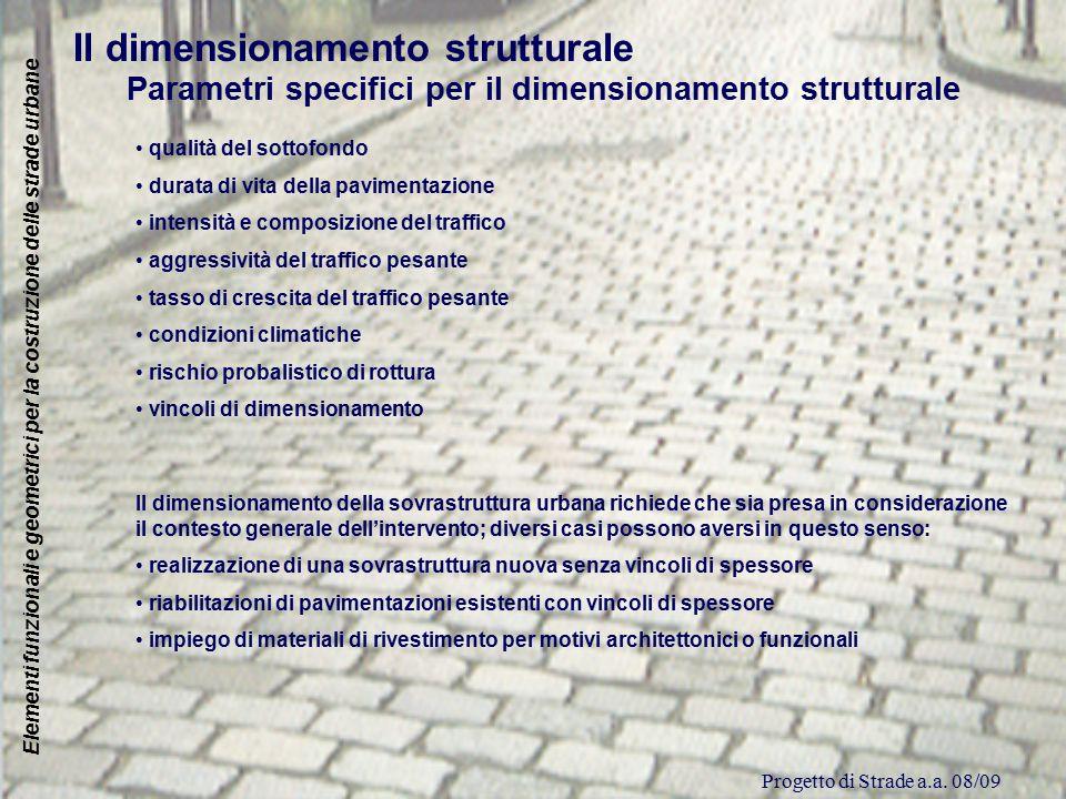 Progetto di Strade a.a. 08/09 Elementi funzionali e geometrici per la costruzione delle strade urbane Il dimensionamento strutturale Parametri specifi