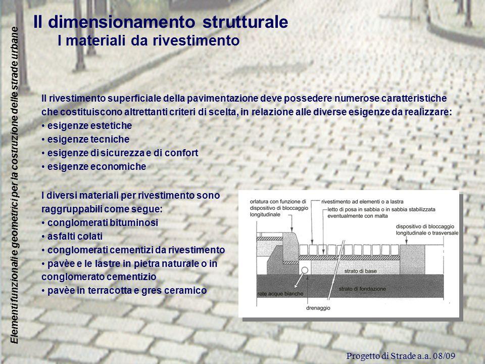 Progetto di Strade a.a. 08/09 Elementi funzionali e geometrici per la costruzione delle strade urbane Il dimensionamento strutturale I materiali da ri