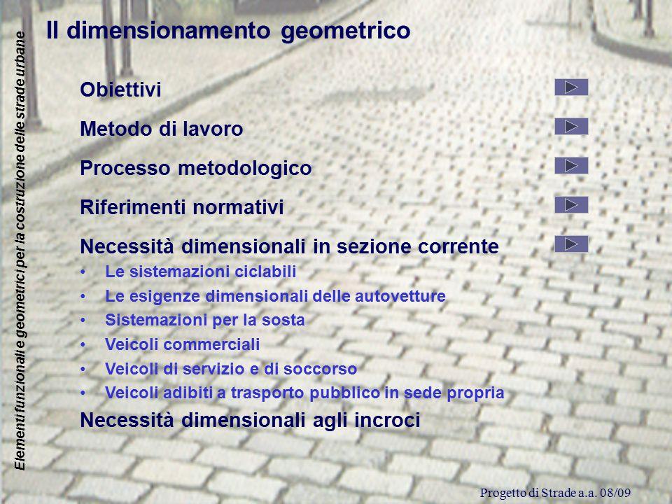 Progetto di Strade a.a. 08/09 Elementi funzionali e geometrici per la costruzione delle strade urbane Il dimensionamento geometrico Obiettivi Metodo d
