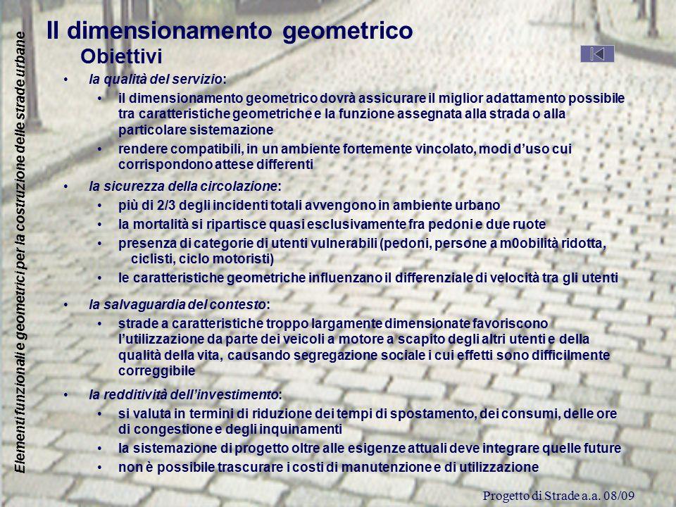 Progetto di Strade a.a. 08/09 Elementi funzionali e geometrici per la costruzione delle strade urbane Il dimensionamento geometrico Obiettivi la quali
