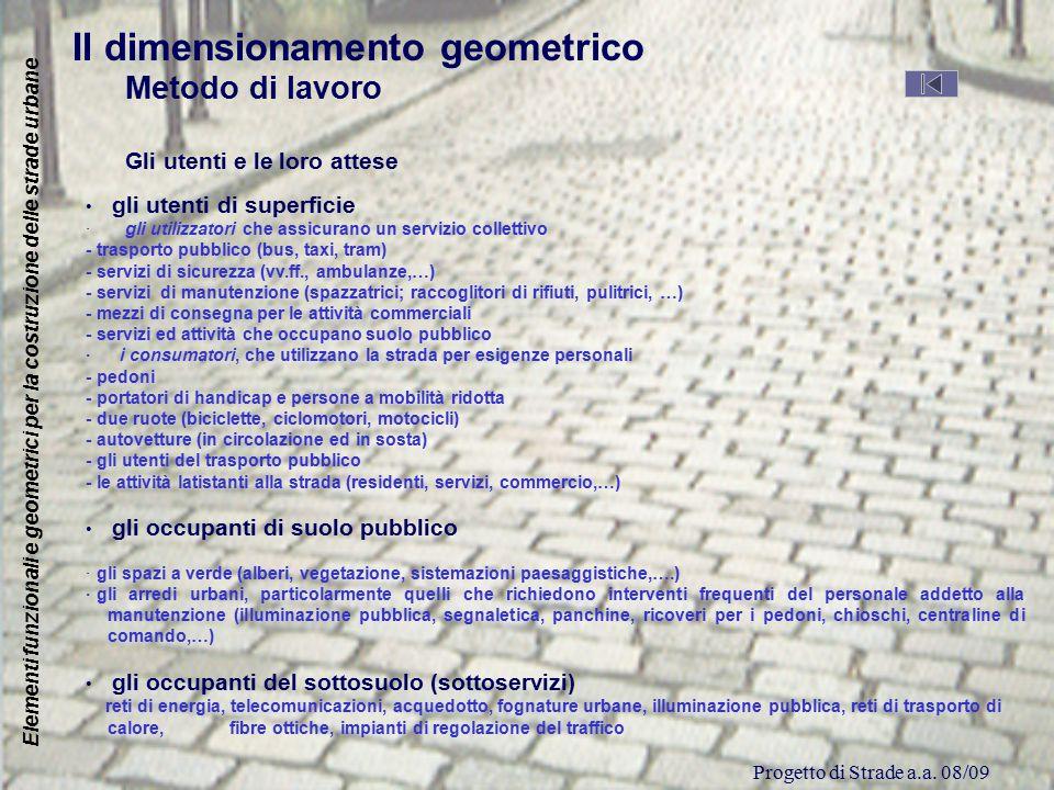 Progetto di Strade a.a. 08/09 Elementi funzionali e geometrici per la costruzione delle strade urbane Il dimensionamento geometrico Metodo di lavoro G