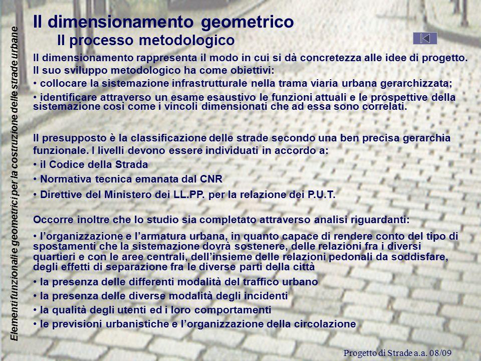 Progetto di Strade a.a. 08/09 Elementi funzionali e geometrici per la costruzione delle strade urbane Il dimensionamento geometrico Il processo metodo