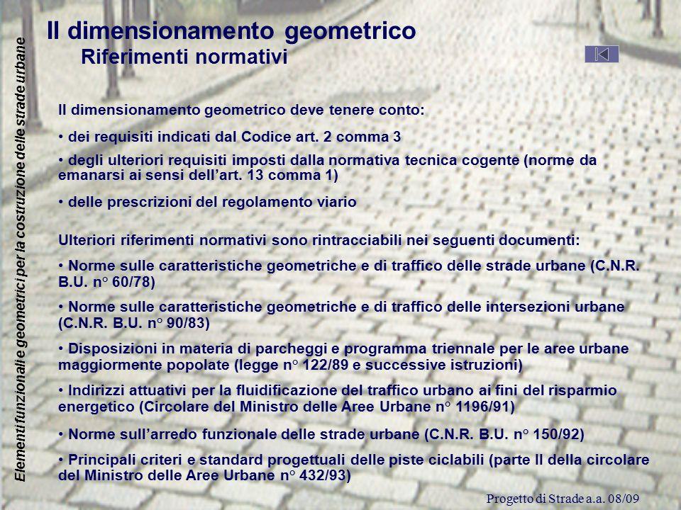 Progetto di Strade a.a. 08/09 Elementi funzionali e geometrici per la costruzione delle strade urbane Il dimensionamento geometrico Riferimenti normat