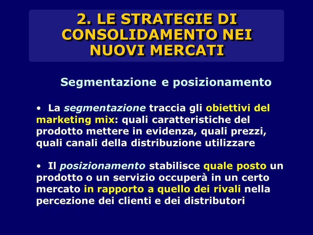 2. LE STRATEGIE DI CONSOLIDAMENTO NEI NUOVI MERCATI Segmentazione e posizionamento La segmentazione traccia gli obiettivi del marketing mix: quali car