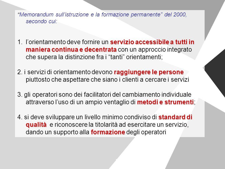 """""""Memorandum sull'istruzione e la formazione permanente"""" del 2000, secondo cui: 1.servizio accessibile a tutti in maniera continua e decentrata 1.l'ori"""
