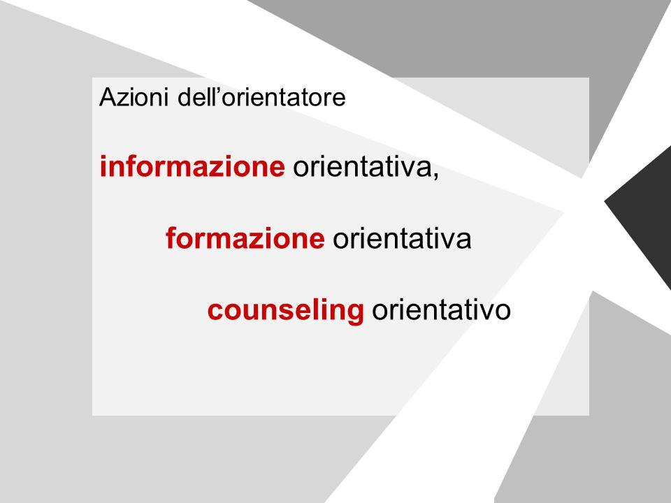 Azioni dell'orientatore informazione orientativa, formazione orientativa counseling orientativo