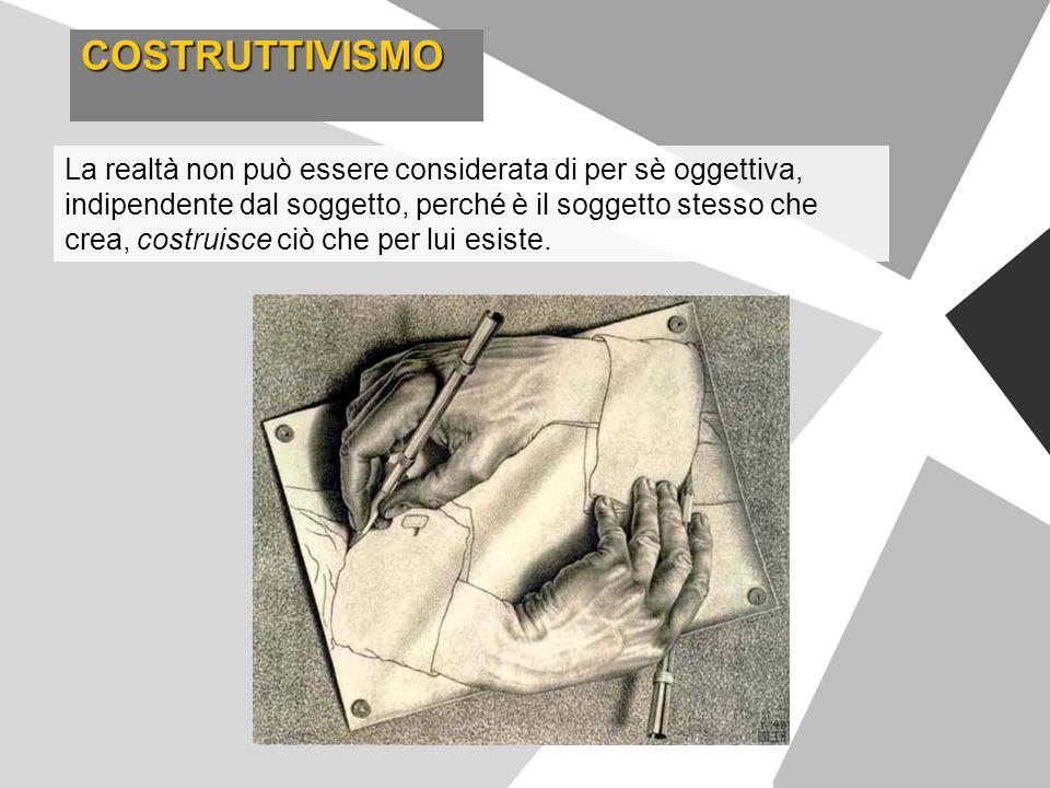 COSTRUTTIVISMO La realtà non può essere considerata di per sè oggettiva, indipendente dal soggetto, perché è il soggetto stesso che crea, costruisce c