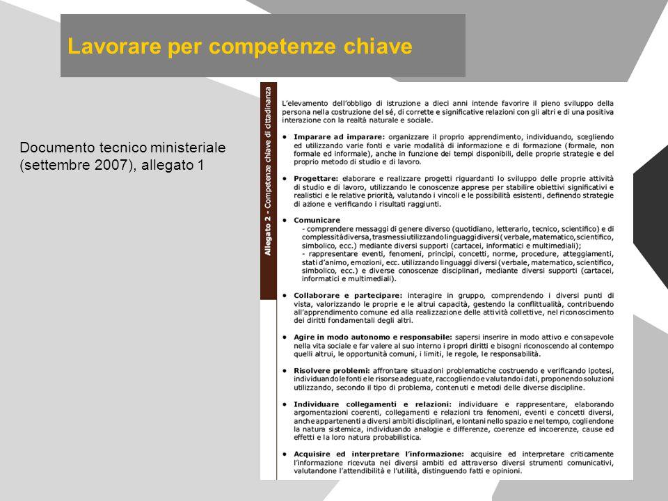 Lavorare per competenze chiave Documento tecnico ministeriale (settembre 2007), allegato 1