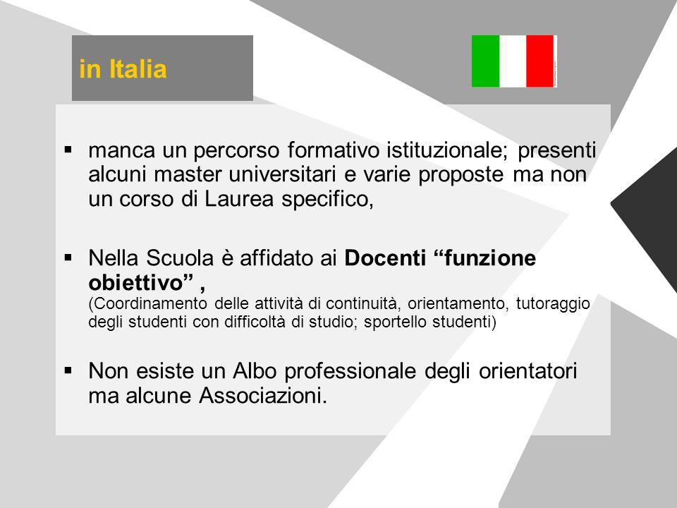 in Italia  manca un percorso formativo istituzionale; presenti alcuni master universitari e varie proposte ma non un corso di Laurea specifico,  Nel
