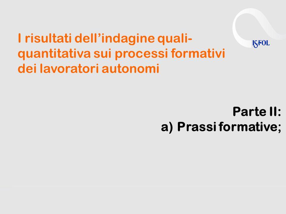 I risultati dell'indagine quali- quantitativa sui processi formativi dei lavoratori autonomi Parte II: a)Prassi formative;