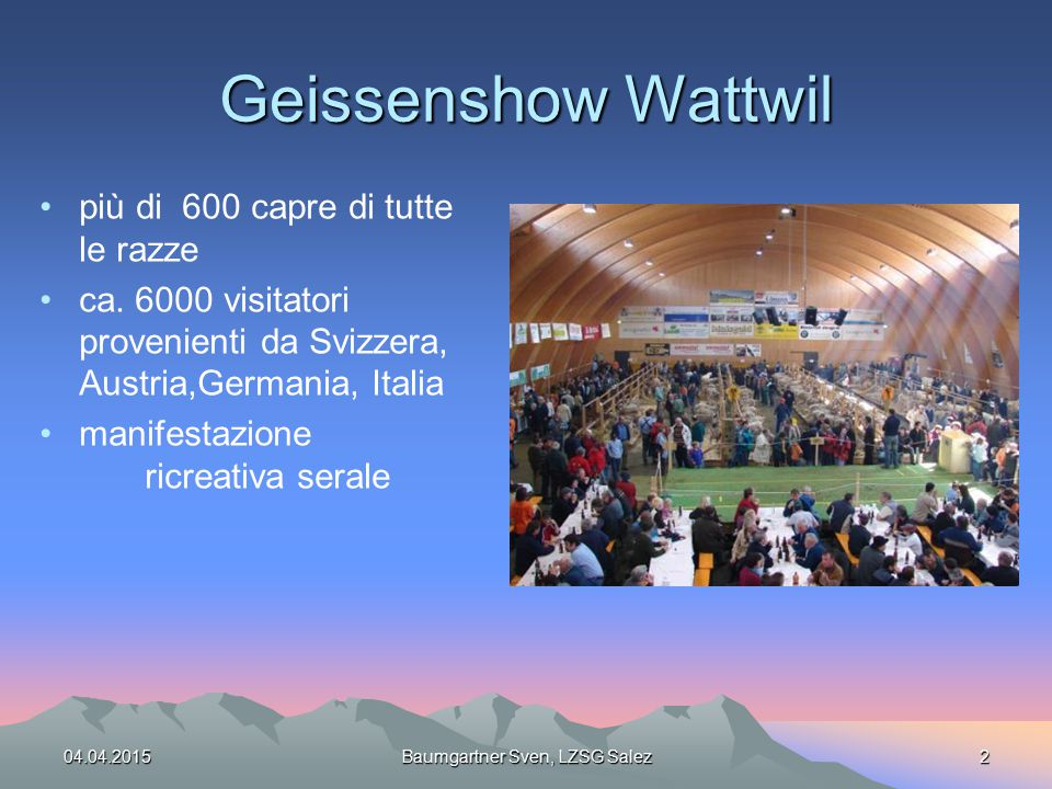 Geissenshow Wattwil più di 600 capre di tutte le razze ca. 6000 visitatori provenienti da Svizzera, Austria,Germania, Italia manifestazione ricreativa