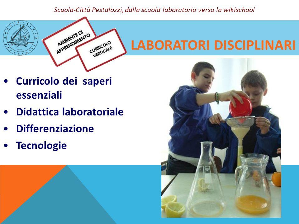 LABORATORI DISCIPLINARI Curricolo dei saperi essenziali Didattica laboratoriale Differenziazione Tecnologie Scuola-Città Pestalozzi, dalla scuola labo