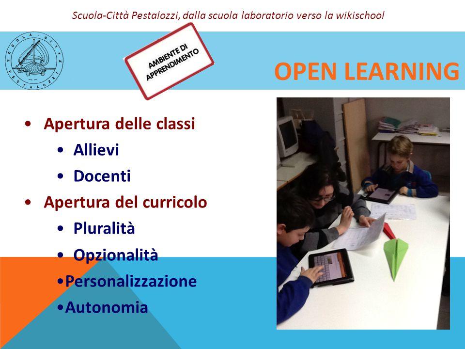 OPEN LEARNING Apertura delle classi Allievi Docenti Apertura del curricolo Pluralità Opzionalità Personalizzazione Autonomia Scuola-Città Pestalozzi,