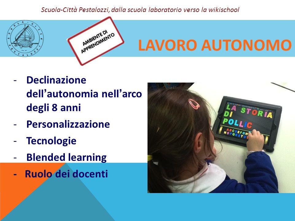 LAVORO AUTONOMO -Declinazione dell'autonomia nell'arco degli 8 anni -Personalizzazione -Tecnologie -Blended learning - Ruolo dei docenti Scuola-Città