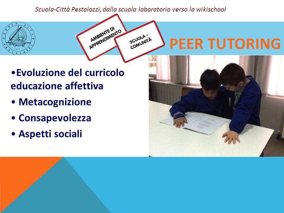 PEER TUTORING Evoluzione del curricolo educazione affettiva Metacognizione Consapevolezza Aspetti sociali Scuola-Città Pestalozzi, dalla scuola labora